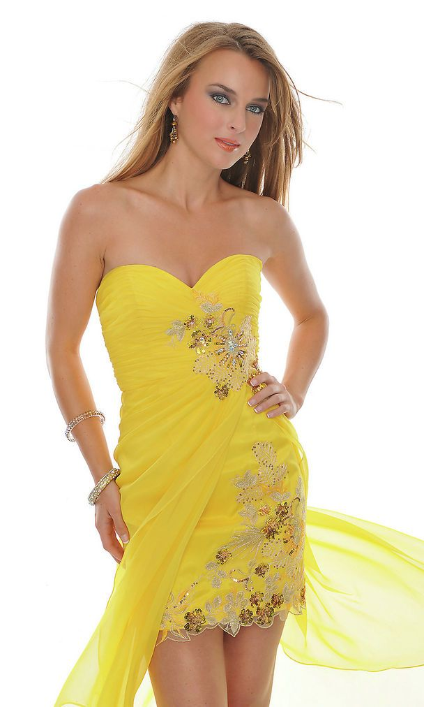 Sequin Embellished Ruched Short Strapless Sweetheart Yellow Prom ...