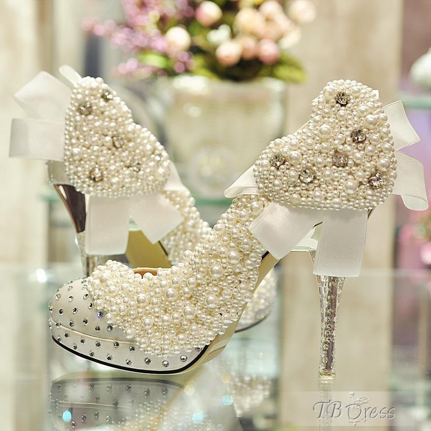 Luxurious Elegant Sweetheart Bowknot Rhinestone Wedding Shoes