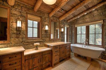 Es Soaking Tubslodge Stylerock Wallrustic Bathroomstraditional