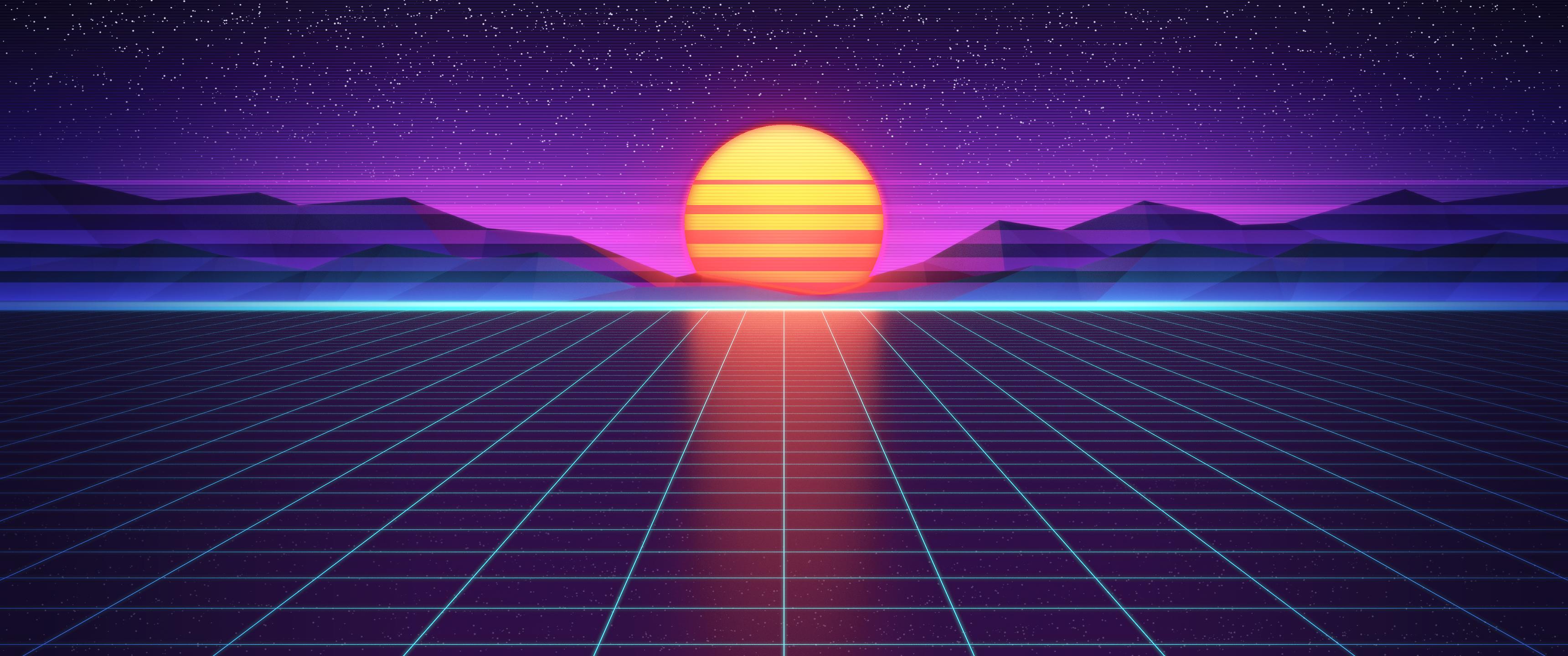 3440 X 1440 Outrun Sunset Ultrawide Desktop Background Images Wallpaper Pc Desktop Wallpaper