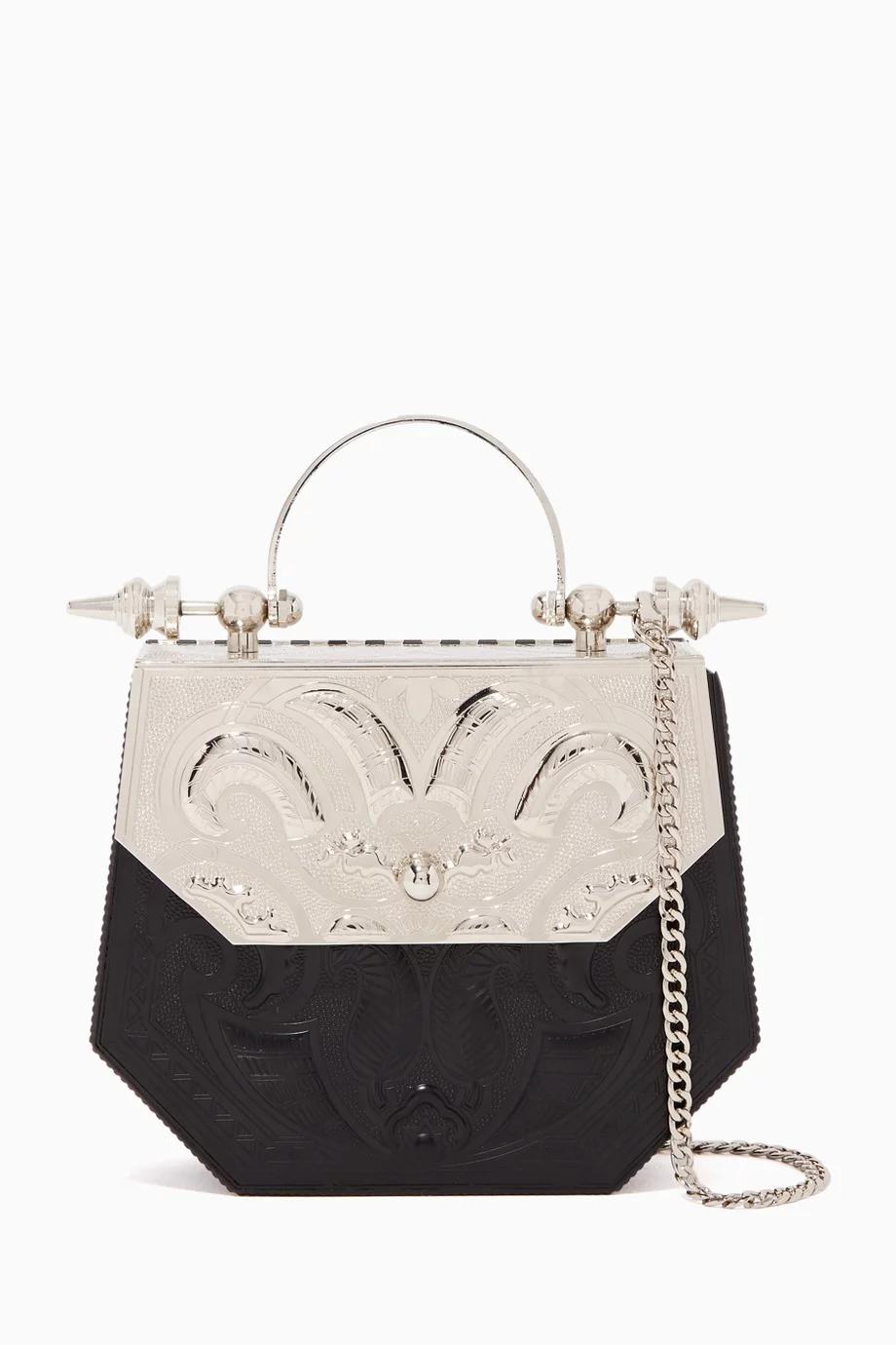 Shop Okhtein Silver Hexagon Minaudiere Plated Brass Bag For Women Ounass Uae Bags Money Bag Handbag