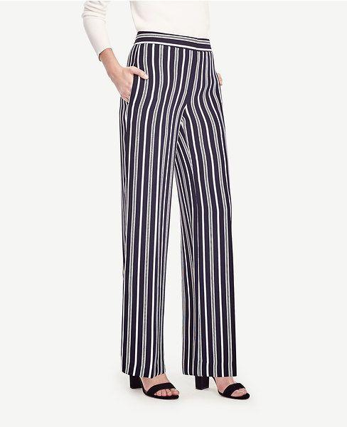 Primary Image Of Striped High Waist Wide Leg Pants Roupas Vestidos Calca Alfaiataria