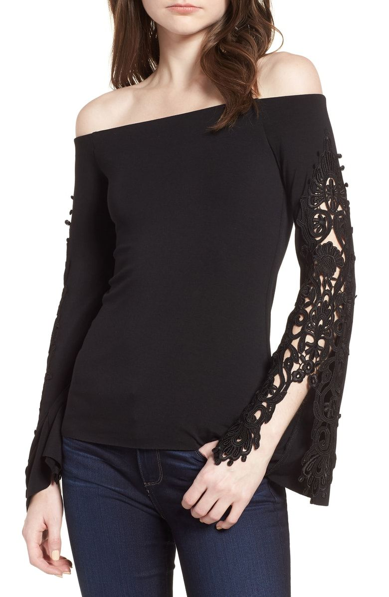 2977be6caa57a Free shipping and returns on Bailey 44 Lace Bell Sleeve Off the Shoulder Top  at Nordstrom.com. Balance old-world romance and modern beauty in this sleek  ...