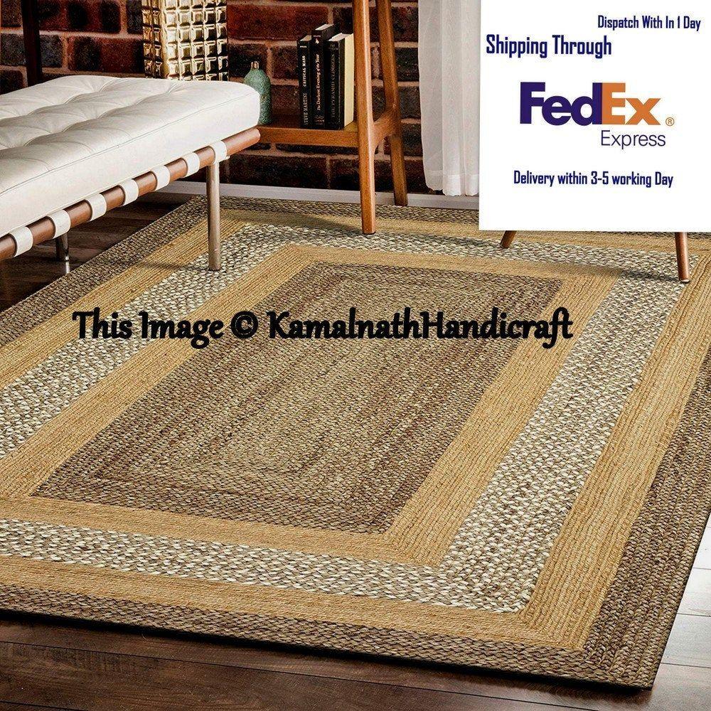 Indian Braided Floor Rug Handmade Jute