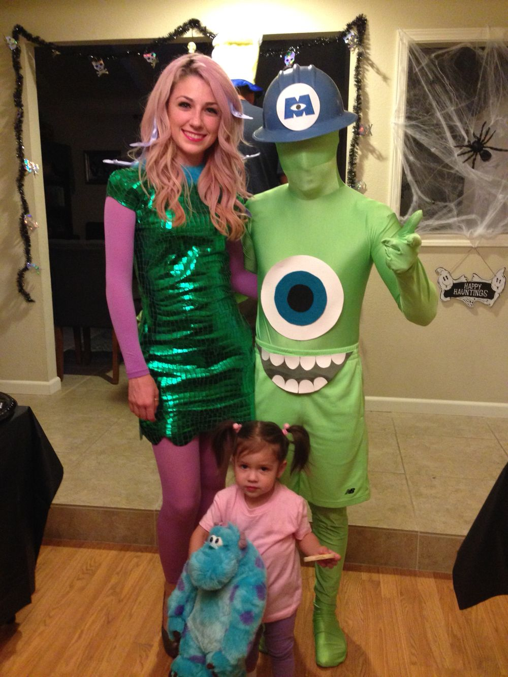 mike wazowski, celia and boo costumes from monsters inc. diy | let's