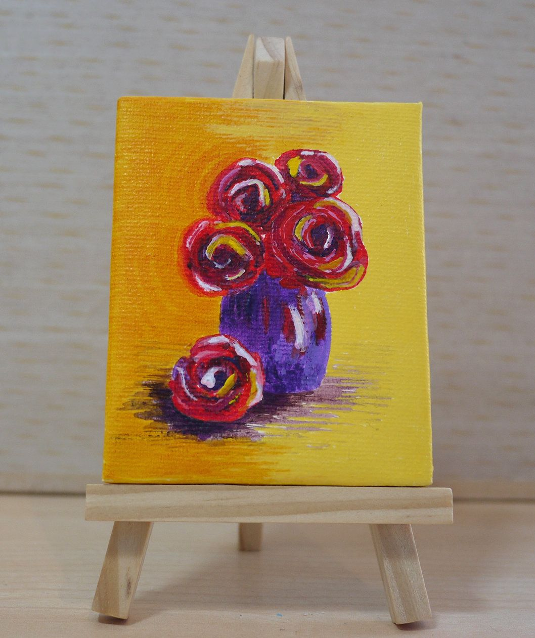 Tiny Red Rose Vase Acrylic Painting on Canvas, Miniature Painting ...