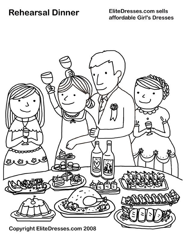 EliteDresses Sells Affordable Girls Dresses Rehearsal Dinner Coloring Page