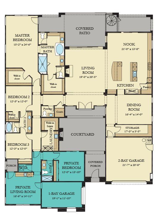 Residence One Nextgen New Home Plan In Southern Highlands Olympia Ridge Multigenerational House Plans Courtyard House Plans New House Plans