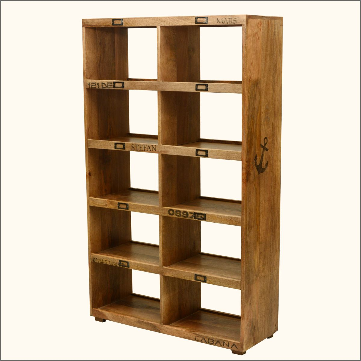 Anchors Away Mango Wood 10 Section Open Back Display Wall Unit Wall Unit Cube Bookcase Wall Display