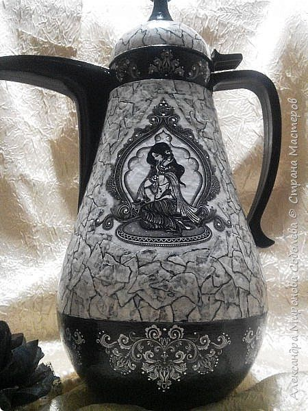 Декор предметов Декупаж Восточный кувшин - или еще один монохром  Бумага Бумага журнальная Клей Краска Скотч фото 6