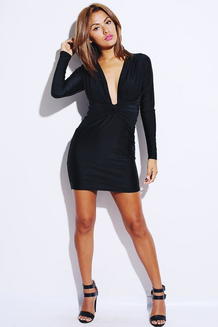 clubwear21.com  dress  fashion black knot front low cut long sleeve fitted  clubbing mini dress- 42.00 724c6c22f