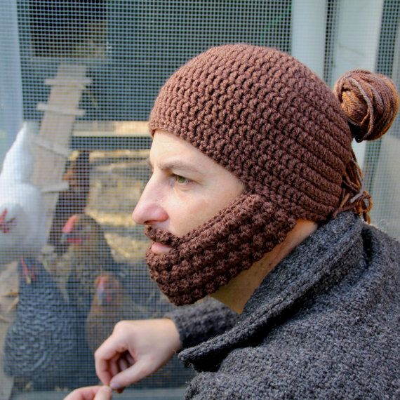 331b14581 Crochet Hat with Beard, Man Bun Hat, The Portland, Unique gift for ...