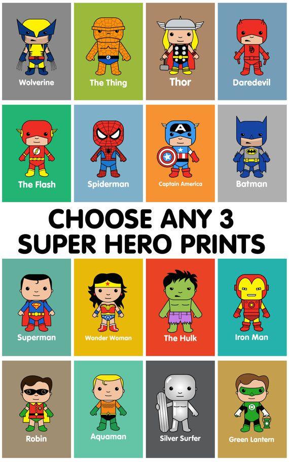 Super Hero wall art, kids wall art, Batman, Superman ...