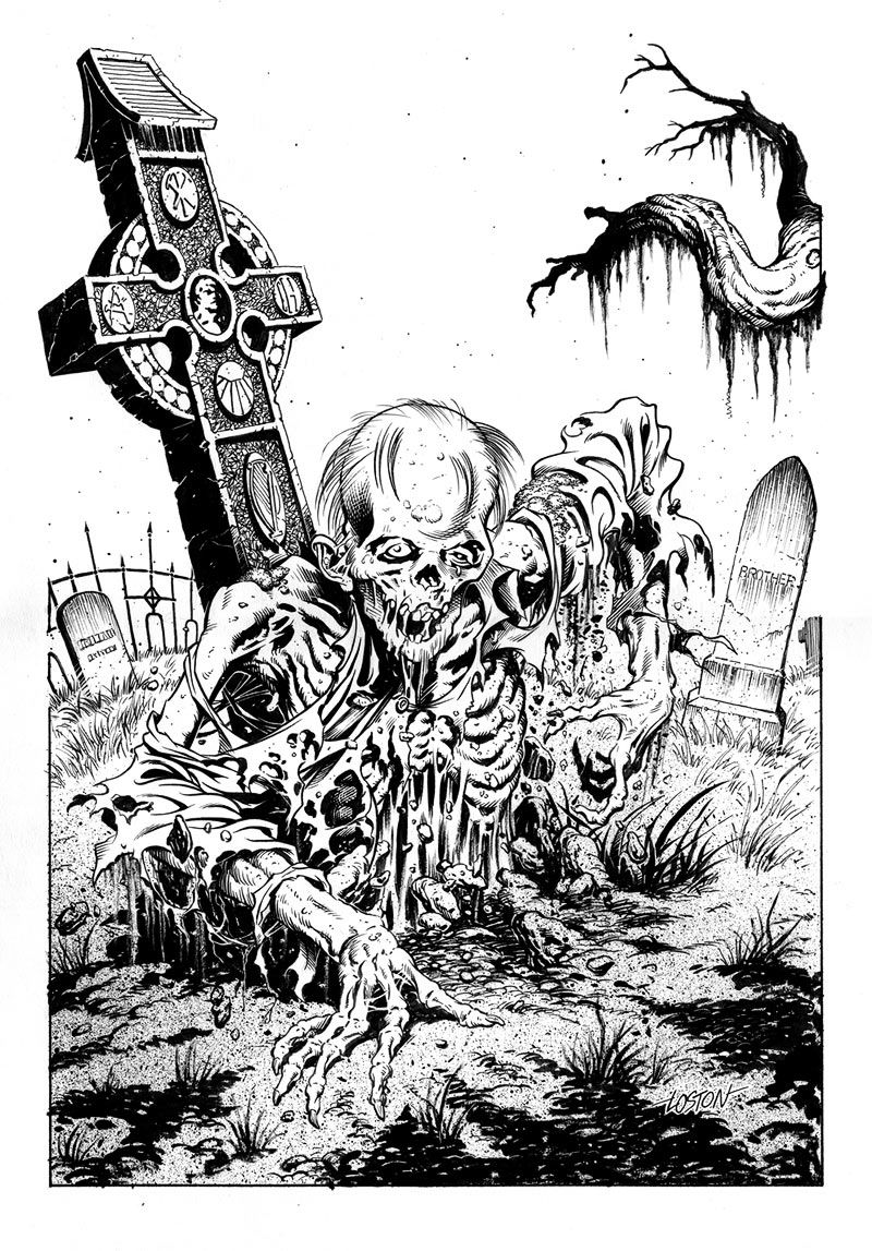 Zombie Graveyard Drawing Lineart