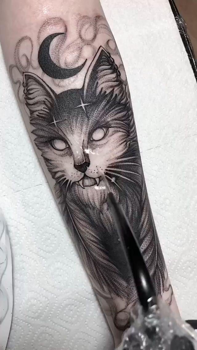 Тату магический кот, тату для ведьмы эскиз 😈 Настя Злюка   оригинальные рисунки скетчи татуировки