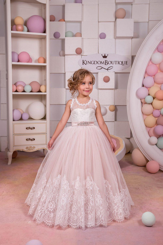 Marfil Y Blush Rosa Niña Vestido De Flores Cumpleaños Boda