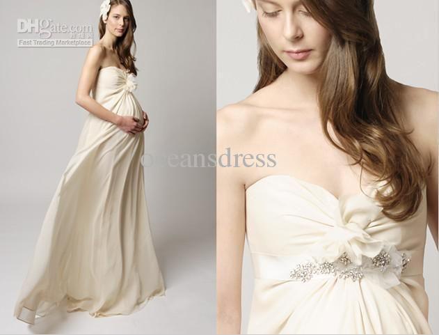 Wholesale Custom Made 2012 Chiffon Column Sweetheart Floor Length Beaded Maternity Wedding Dress/Bridal Gown, Free shipping, $100.8-112.0/Piece | DHgate