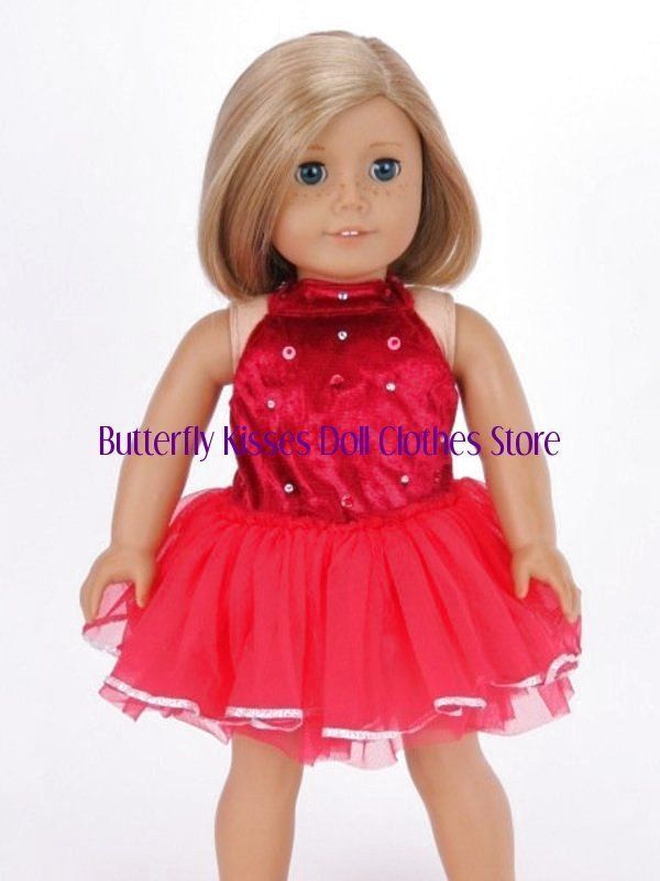 8c65e8c0130 Red Sparkle Dance Dress Doll Clothes Made For 18