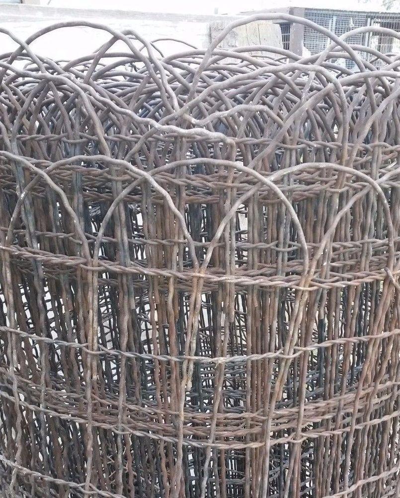 NICE) Vintage Woven Wire round top garden fence gate trellis 20 ft ...