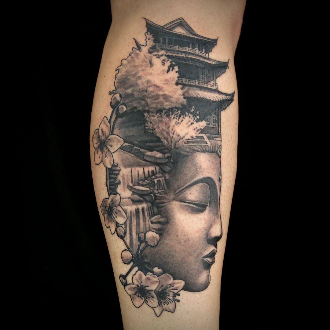Japanese Temple Tattoo By Teej Poole Ink Master Tattoos Temple Tattoo Japanese Temple Tattoo