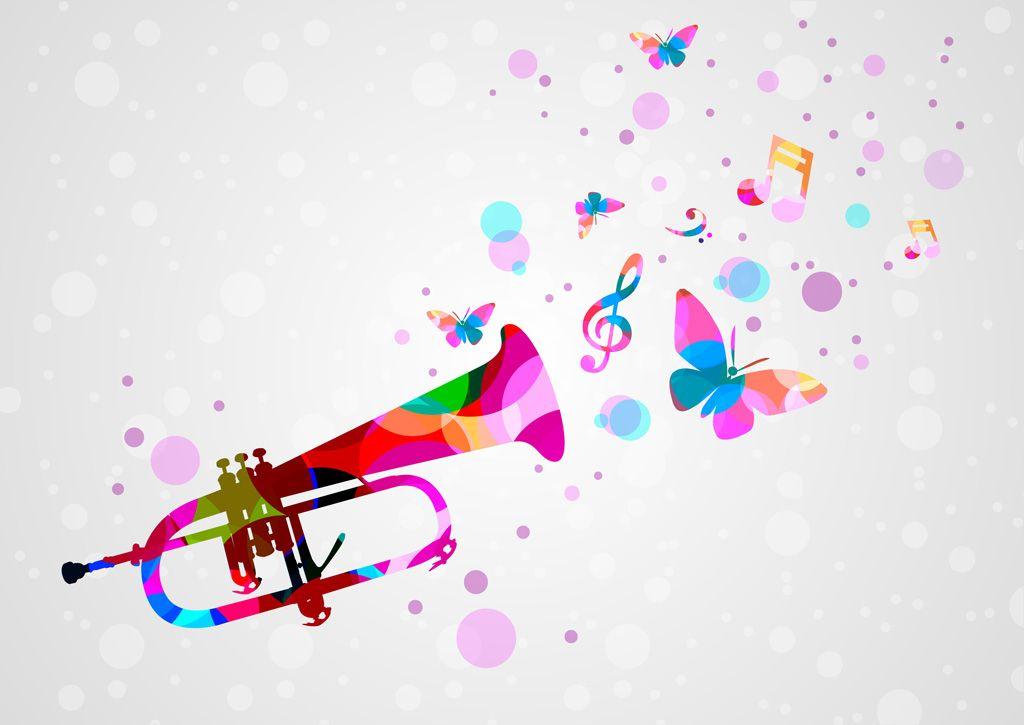 フリーイラスト素材 イラスト 背景 トランペット 金管楽器 楽器