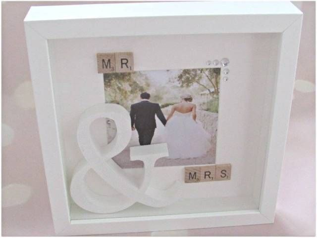 Gorgeous Mr And Mrs With Large White Glitter Sign Box Frame Crystal Gems Wedding Memory Keepsake Gift