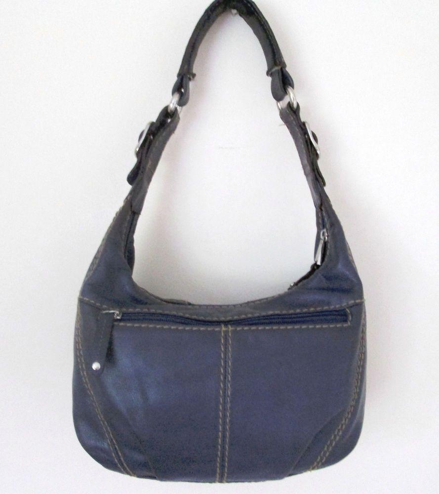 Tignanello Small Blue Leather Hobo Purse Handbag Single Strap Top Stitch Detail #Tignanello #Hobo