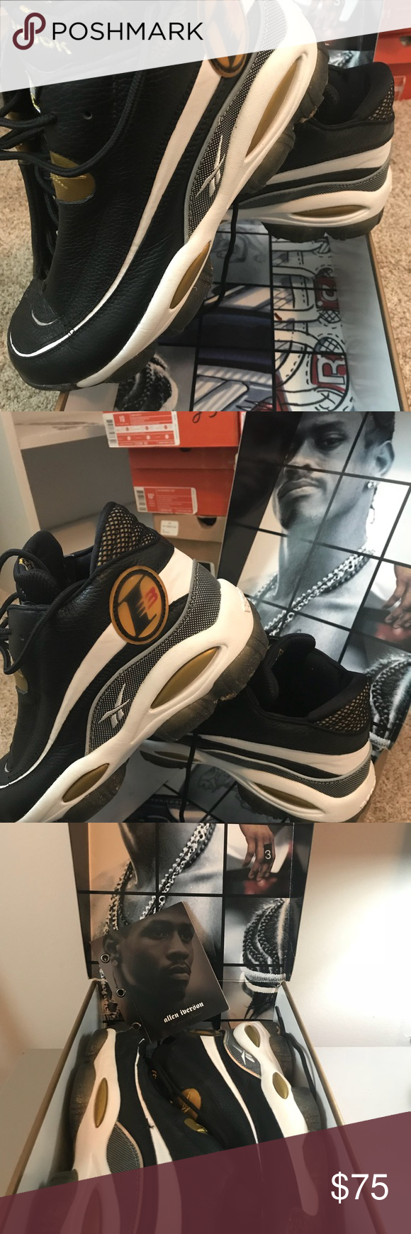 af37d10fb8cd Men s Allen Iverson 3 AI 10th anniversary THE ANSWER DMX 10 Gently worn  -Black white gold clear Size 10 Men s Reebok Reebok Shoes Sneakers
