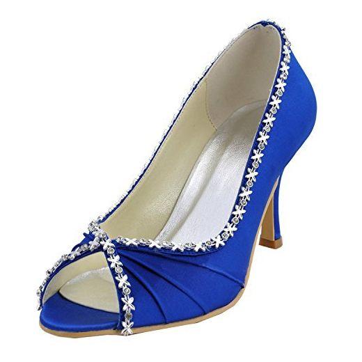 Kevin Fashion Damen Modische Hochzeitsschuhe Blau Blau Grosse