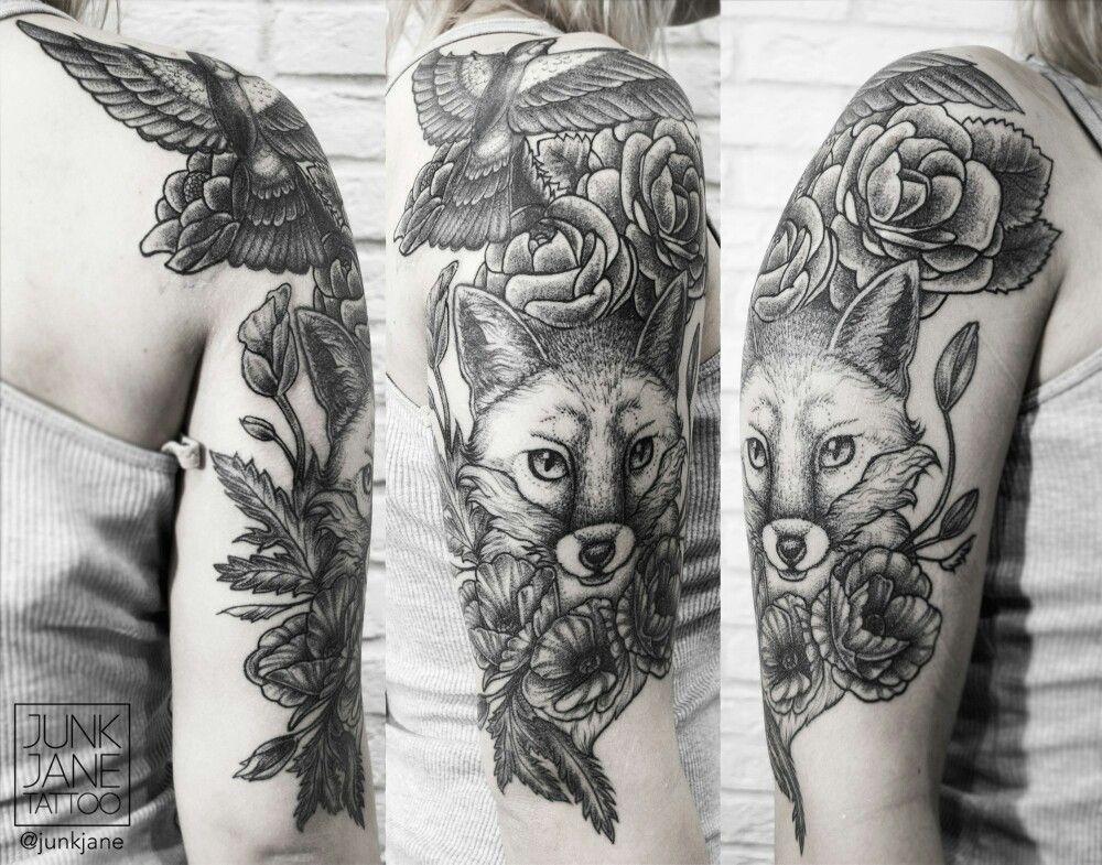 Sleeve Tattoo For Polina In Progress Fox Flowers And Mini Cover Up Bird Dotwork Blackwork Tattoo Flowe Sleeve Tattoos Fox Tattoo Inspirational Tattoos