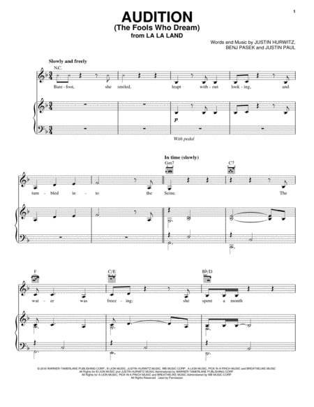Audition The Fools Who Dream  Sheet Music    Sheet
