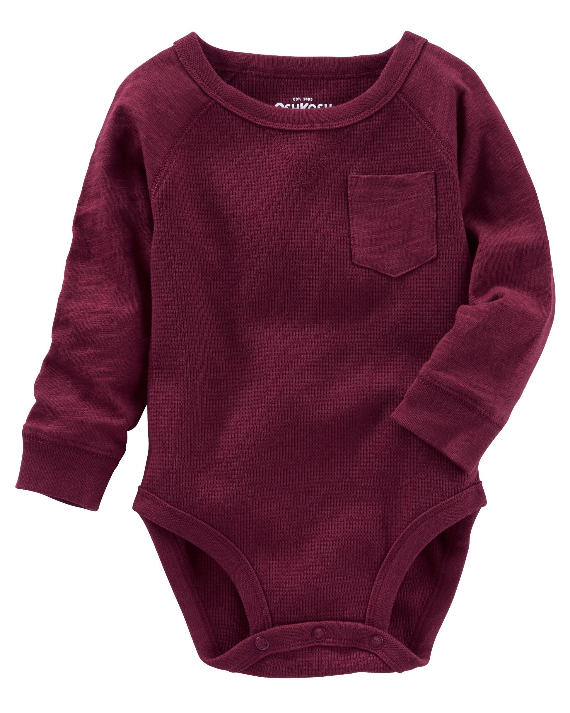 Baby Boy Raglan Pocket Thermal Bodysuit Carters