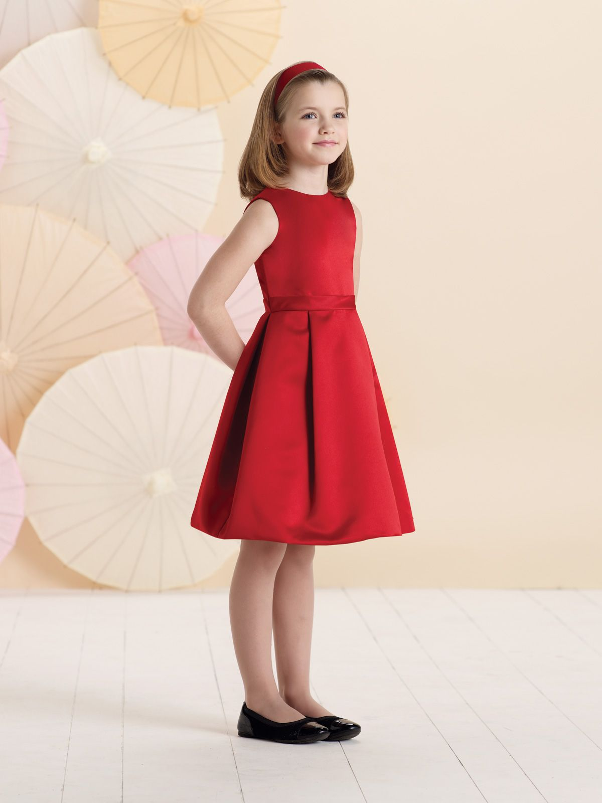a line dress with jewel neckline bodice features a v back accented with two bows wide waistband full pleated skirt perfect as a girls holiday dress - Girls Red Christmas Dress