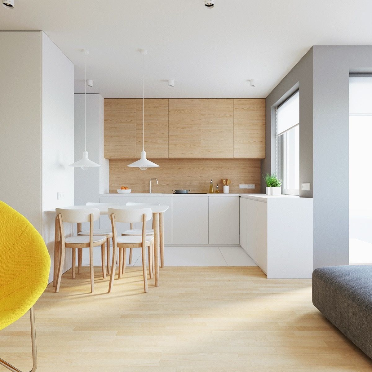 A Simple Kitchen And Dining Combination  This Space Uses A Endearing Ultra Modern Dining Room Decorating Design