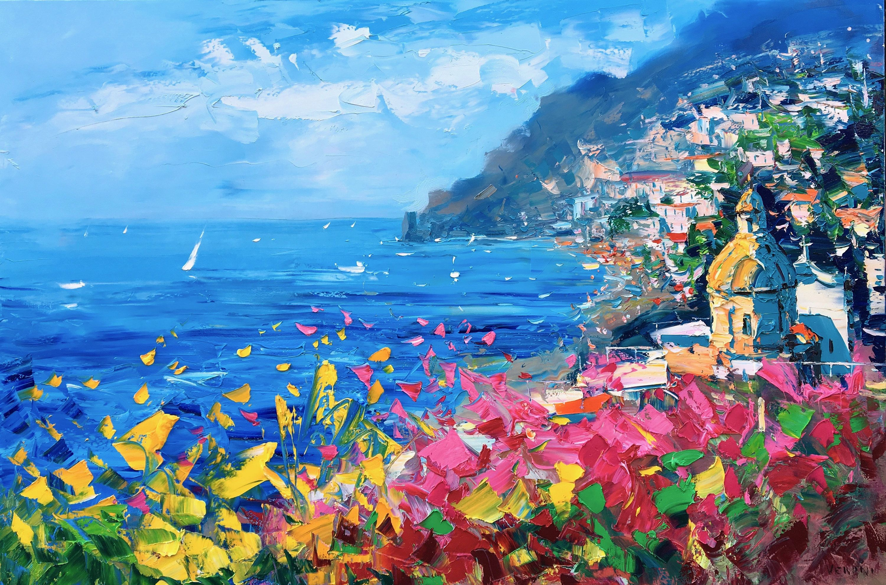 Positano Painting On Canvas Original Art Amalfi Coast Seascape Painting Impressionist Art Living Room Decor Large Wall Art Gift Ideas Italy Painting Seascape Wall Art Seascape Print