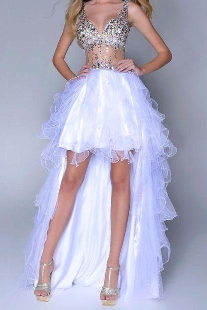 Stunning fluorescent hi-lo dress!   Abendkleid, Ballkleid ...