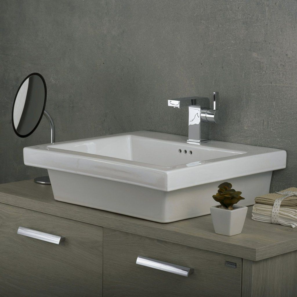 Dax Ceramic Rectangle Single Bowl Bathroom Vessel Sink White