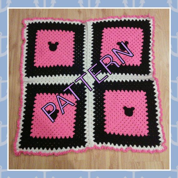 Pink Black White Minnie Mickey Mouse baby afghan crochet PATTERN   Bebe