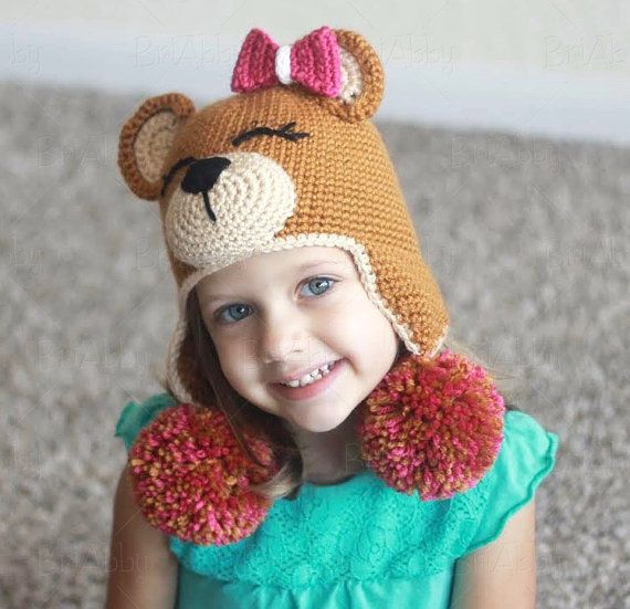 Crochet Teddy Bear Hat Pattern Pdf File Pinterest Crochet