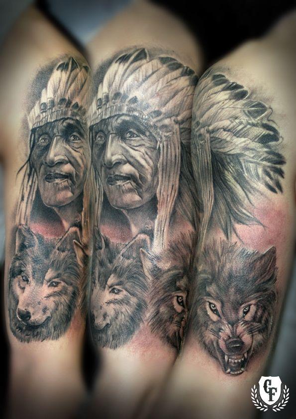 Indian Tattoos Tatuaje Indio Lobo Tattoo Indian Wolf Lucio