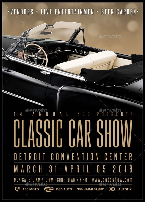 Classic Car Show Flyer Flyer template, Template and Font logo - car flyer template