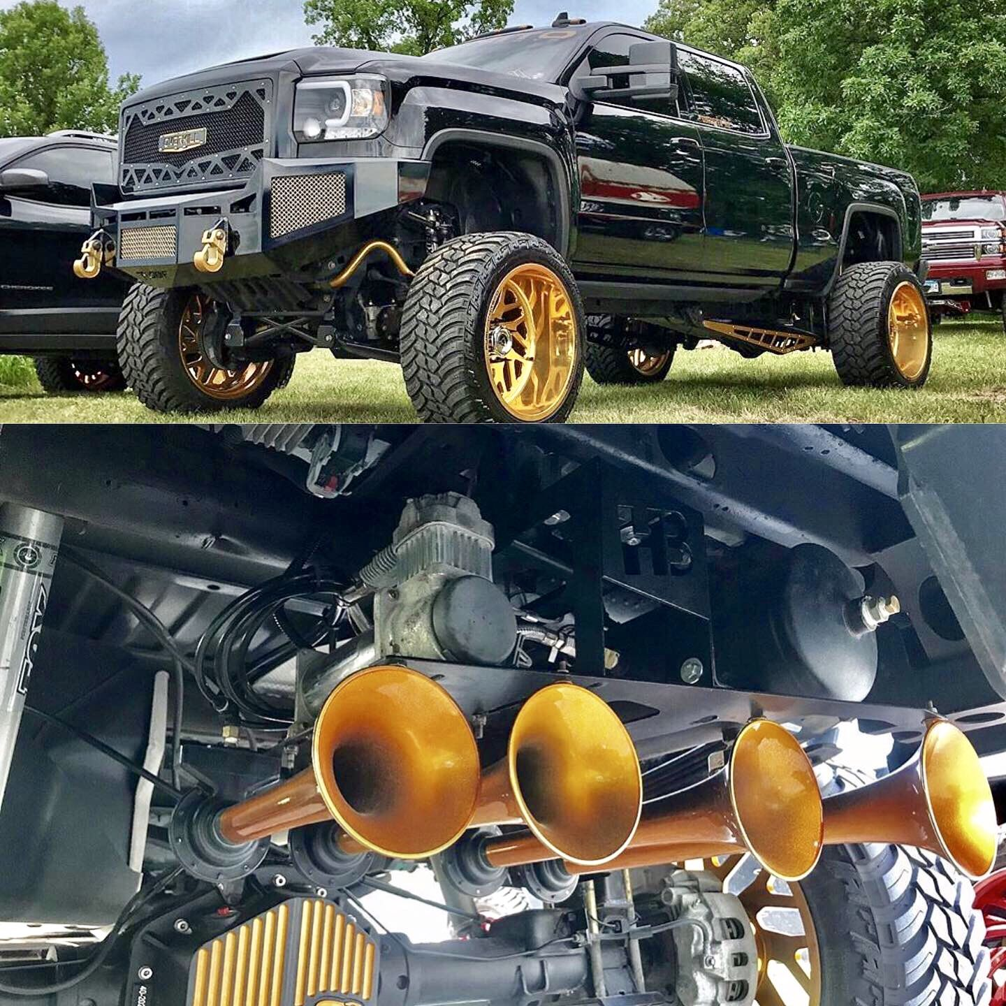 Glorious Gold Goodness Monster Trucks Train Spare Tire