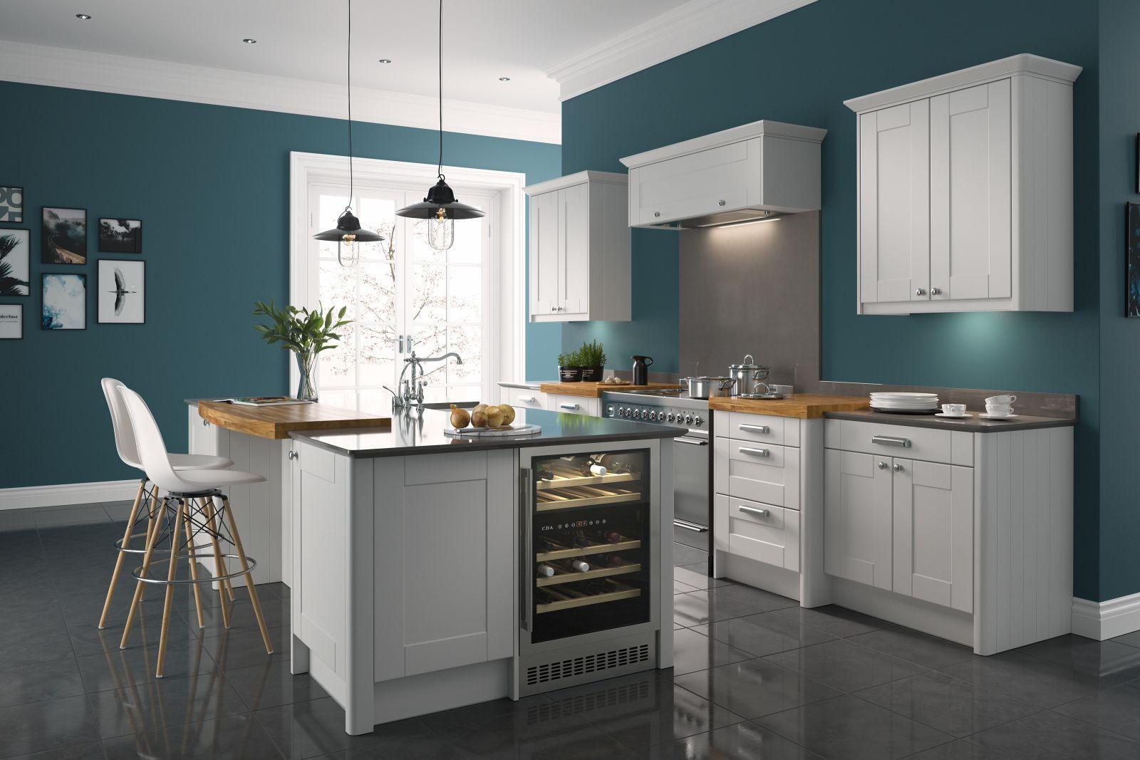 Shaker Ermine Pebble Kitchen Wren kitchen, Kitchen units
