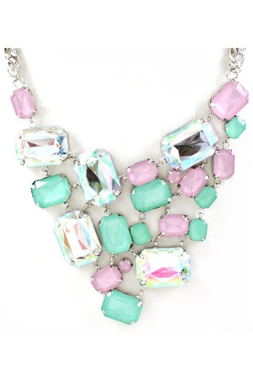 Candy Bib Necklace in Mint
