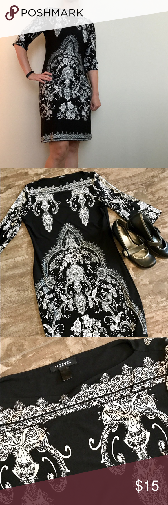 black and white shift dress Nice used dress.  Super comfortable and versatile.  Great fabric that doesn't wrinkle and packs small so easy to travel with.  Non smoking home. Dresses Midi