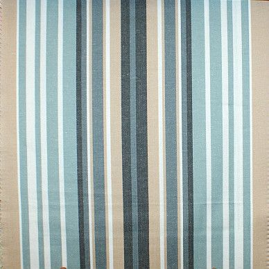 Fryetts Beach Comber Stripe Harbour Blue Designer Upholstery