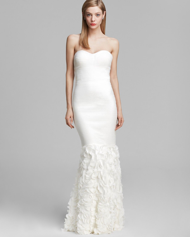Wedding dress under 500  Boutique Gown  Strapless Ruched Petal Trumpet  Bloomingdaleus