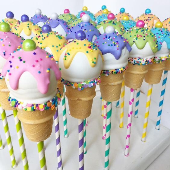 "Jeanette | MyLittleCakepop on Instagram: ""I scream, you scream, we all scream for ice cream!? It's carnival time at Del Obispo Elementary School! Inspiration for these was from by…"""