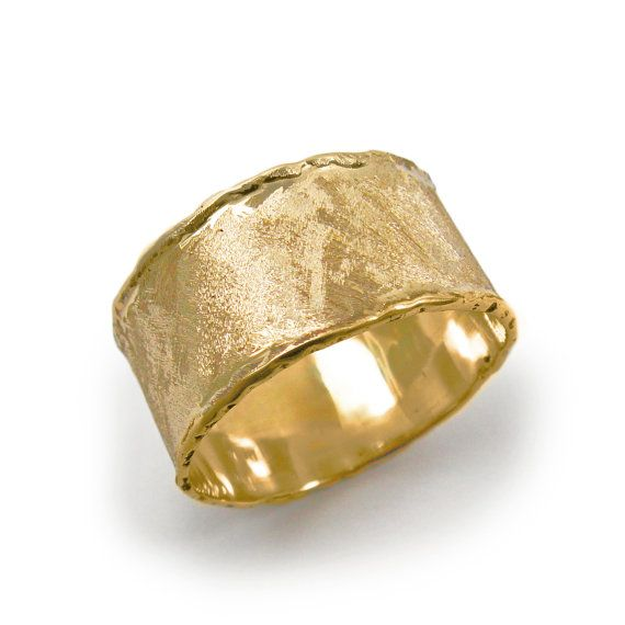 wide band ring brass wrap ring statement ring Hammered gold ring