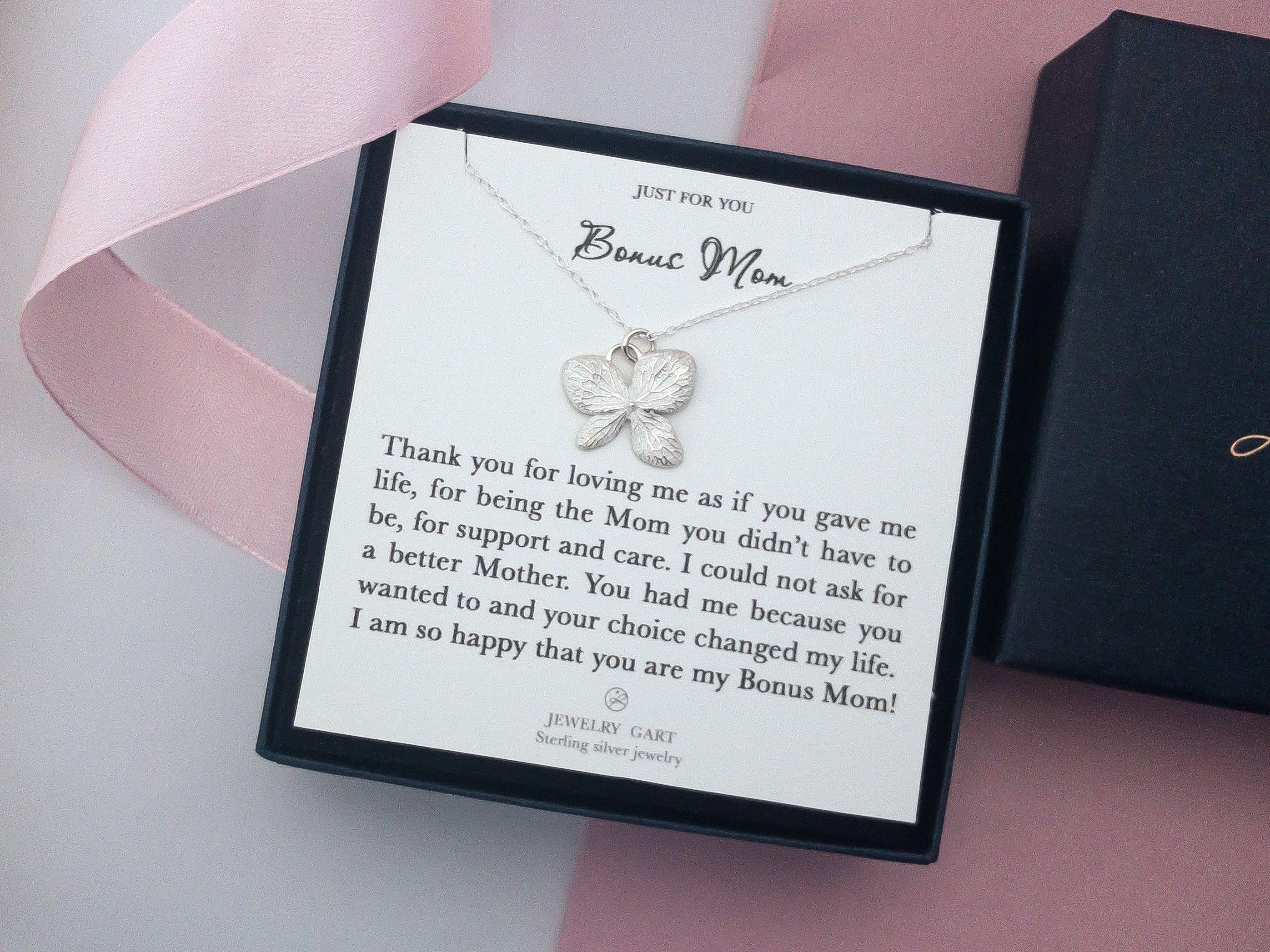 Bonus mom gift sterling silver necklace happy birthday